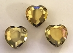 Chinese Crystal Hearts, 16x16mm - Lemon Quartz AB - 3 qty.