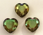 Chinese Crystal Hearts, 16x16mm - Smoky Topaz AB - 3 qty.