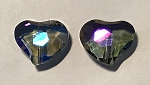 Chinese Crystal Curved Heart, 16x18mm - Crystal w/ Blue Iris - 2 qty.