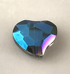 Chinese Crystal Curved Heart, 20x22mm - Crystal w/ Blue Iris - 1 qty.