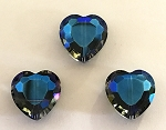 Chinese Crystal Hearts, 16x16mm - Crystal w/ Blue Iris - 3 qty.