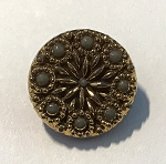 1920's Antique German Glass Button 14mm - Antique Gold w/ Taupe Flower- 1 qty