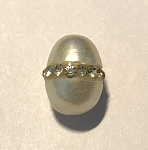 10x12mm Pave Rhinestone Potato Pearl - White - 1 qty.