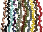 6mm - 2-hole Czech Glass Square Beads Box - 12 assorted strands, 25 qty. per strand