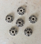 9mm Pewter Antique Silver-plate Filigree Bead Cap – 6 pcs.