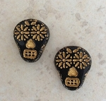 20 x 17mm Czech Glass Sugar Skull Bead – Black with Gold Wash - 2 qty.