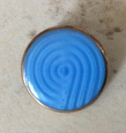 18mm Vintage Czech Glass Button – Blue with Copper Edging – 1 qty.