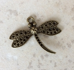 29 x 34mm Dragonfly Pendant – Antique Brass – 1 qty.