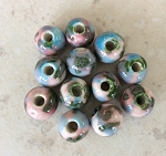 9 x 12mm Hand-painted Chinese Porcelain – 1.5mm hole – Pink with Multi-colored Paint – 12 qty.