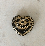 18mm Vintage-style Czech Glass Heart – Jet with Gold Wash – 1 qty.
