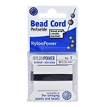 Polythread Size 01 (.35 mm, .014 in) - Black, with needle, 2 m (6.5 ft) - 1 pack