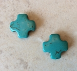 15mm Magnesite Cross – Turquoise – 2 qty.