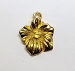10 x 15mm Pewter Flower Pendant - Gold-plated - 1 qty.