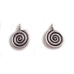 12 x 15mm Pewter Spiral Charm - 2 qty.