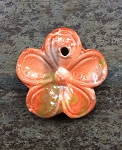 38mm Porcelain Flower Pendant - Tangerine - 1 qty.