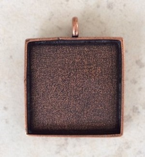 32mm Pewter with Copper Square Resin Blank – 1 pc.