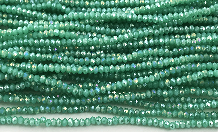 Chinese Crystal Rondelle Beads Opaque White Linen 3x4mm