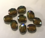 16 x 20mm Chinese Crystal Flat Oval - Topaz AB - 1 qty.