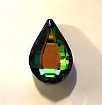 24 x 38mm Chinese Crystal Faceted Drop Pendant – Green Iris - 1 qty.