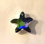 Apprx. 30mm Chinese Crystal Faceted Starfish Pendant – Green Rainbow - 1 qty.