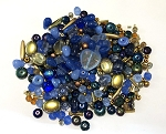 50g Czech Mix w/ Japanese Seed Beads - Blue & Gold