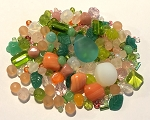 50g Czech Mix w/ Japanese Seed Beads - Peachy Green