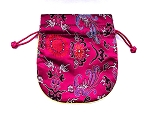 4.5 x 5 Inches - Chinese Satin Pouch – Fuchsia Phoenix - 1 qty.