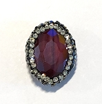 17 x 21mm Chinese Crystal Oval Shaped Focal Bead - Dark Ruby Red w/ Marquisite & Cubic Zirconia Pave Rhinestone Edging - 1 qty.