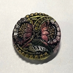 27mm Hand Painted Czech Glass Sunflower Button - Fuchsia w/ Gold, Green & Shiny Black  - 1 qty.
