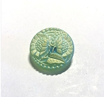 18mm Czech Glass Sunflower Button - Matte Mint Green AB - 1 qty.