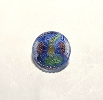 18mm Hand Painted Czech Glass Sunflower Button - Clear w/ Blue, Red, Gold & Green - 1 qty.