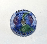 27mm Hand Painted Czech Glass Sunflower Button - Clear w/ Blue, Red, Gold & Green - 1 qty.
