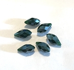 6 x 13mm Chinese Crystal Pointed Briolette – Forest Green w/ Silver Luster - 6 qty.