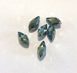 6 x 13mm Chinese Crystal Pointed Briolette – Forest Green AB - 6 qty.