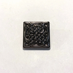 19mm Hand Painted Czech Glass Celtic Square Button - Black w/ Full Coat Dark Bronze Metallic - 1 qty.