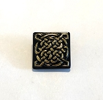 19mm Hand Painted Czech Glass Celtic Square Button - Black w/ Gold - 1 qty.