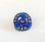 19mm Czech Glass Starry Triwave Button - Royal Blue w/ Crystal & Gold - 1 qty.