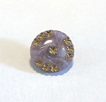 19mm Czech Glass Starry Triwave Button - Lavender w/ Crystal & Gold - 1 qty.