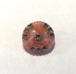 19mm Czech Glass Starry Triwave Button - Rose Pink w/ Crystal & Silver - 1 qty.