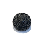 19mm Czech Glass Dotted Daisy Button - Matte Black - 1 qty.
