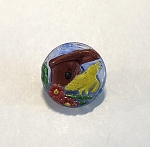 18mm Czech Glass Hand Painted Bird House Button - Red, Yellow, Green & Blue - 1 qty.