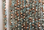 3mm Czech Fire Polish - Light Aqua Half Copper - 50 qty. - BB