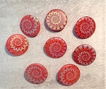 18mm Czech Glass Laser-Etched Button – Matte Red – 1 pc.