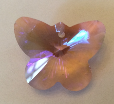 28 x 33mm Chinese Crystal Butterfly – Rose AB - 1 qty