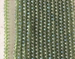 6 x 8mm Czech Glass Corrugated Rondelle – Olive Rainbow Iris – 32 pcs.