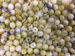 6mm Vintage German Glass Round – Opaque White with Yellow and Blue – 12 pcs.