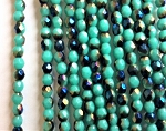 3mm Czech Fire Polish - Opaque Turquoise Metallic Blue - 50 qty. - BB