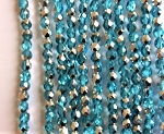 4mm Czech Fire Polish - Light Aqua Half Silver - 50 pcs. BB