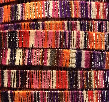 10mm Woven Flat Cotton Cord – Peach & Berry Stripes – 1 yd