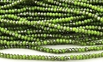 Chinese Crystal Rondelle Beads - Chartreuse w/ Silver Luster, 1.5x2mm - 1 strand
